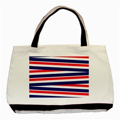 Red White Blue Patriotic Ribbons Basic Tote Bag (two Sides) by Nexatart