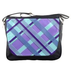 Diagonal Plaid Gingham Stripes Messenger Bags by Nexatart
