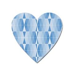 Blue Monochrome Geometric Design Heart Magnet by Nexatart