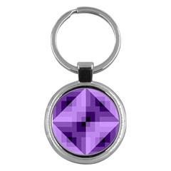 Purple Geometric Cotton Fabric Key Chains (round)  by Nexatart