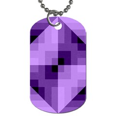 Purple Geometric Cotton Fabric Dog Tag (two Sides) by Nexatart