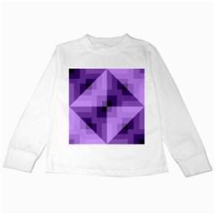 Purple Geometric Cotton Fabric Kids Long Sleeve T Shirts by Nexatart
