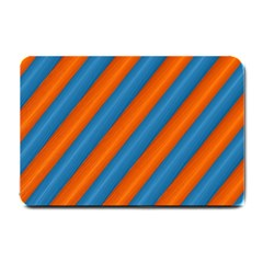 Diagonal Stripes Striped Lines Small Doormat  by Nexatart