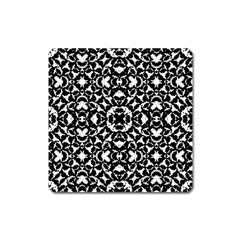 Black And White Geometric Pattern Square Magnet by dflcprints
