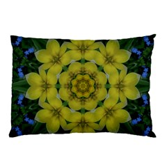 Fantasy Plumeria Decorative Real And Mandala Pillow Case by pepitasart