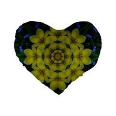Fantasy Plumeria Decorative Real And Mandala Standard 16  Premium Flano Heart Shape Cushions by pepitasart
