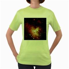 Nebula Red Women s Green T Shirt by snowwhitegirl