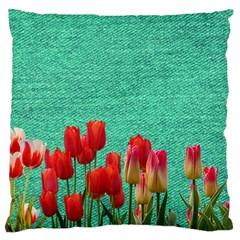Green Denim Flowers Large Flano Cushion Case (two Sides) by snowwhitegirl