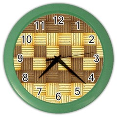 Wood Texture Grain Weave Dark Color Wall Clocks by Nexatart