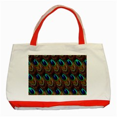 Peacock Feathers Bird Plumage Classic Tote Bag (red) by Nexatart