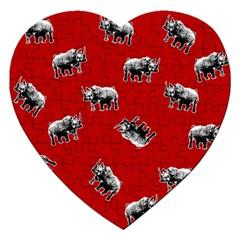 Rhino Pattern Jigsaw Puzzle (heart) by Valentinaart