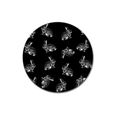 Rabbit Pattern Magnet 3  (round) by Valentinaart