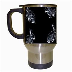 Rabbit Pattern Travel Mugs (white) by Valentinaart