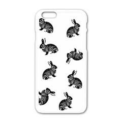 Rabbit Pattern Apple Iphone 6/6s White Enamel Case by Valentinaart