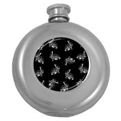 Rabbit Pattern Round Hip Flask (5 Oz) by Valentinaart