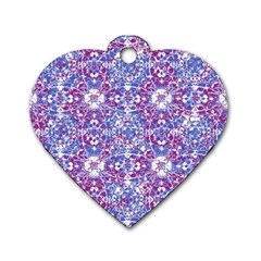 Cracked Oriental Ornate Pattern Dog Tag Heart (one Side) by dflcprints