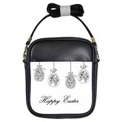 Easter Eggs Girls Sling Bags by Valentinaart