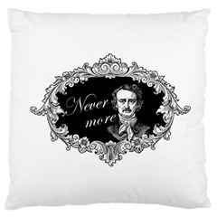 Edgar Allan Poe    Never More Large Cushion Case (two Sides) by Valentinaart