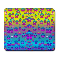 Flowers In The Most Beautiful Sunshine Large Mousepads by pepitasart