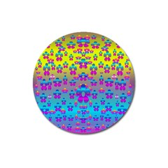 Flowers In The Most Beautiful Sunshine Magnet 3  (round) by pepitasart