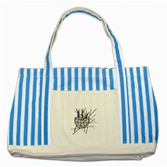 Bird Striped Blue Tote Bag by ValentinaDesign