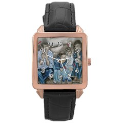 The Nobodies Rose Gold Leather Watch  by redmaidenart