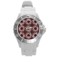 Oriental Ornate Pattern Round Plastic Sport Watch (l) by dflcprints