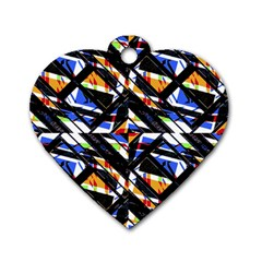 Multicolor Geometric Abstract Pattern Dog Tag Heart (one Side) by dflcprints