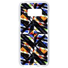 Multicolor Geometric Abstract Pattern Samsung Galaxy S8 White Seamless Case by dflcprints