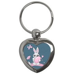 Easter Bunny  Key Chains (heart)  by Valentinaart
