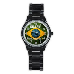 Football World Cup Stainless Steel Round Watch by Valentinaart