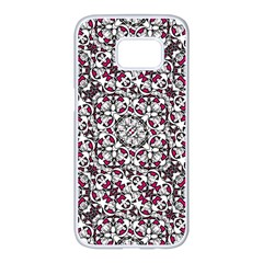 Boho Bold Vibrant Ornate Pattern Samsung Galaxy S7 Edge White Seamless Case by dflcprints