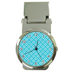 Woven2 White Marble & Turquoise Colored Pencil Money Clip Watches by trendistuff