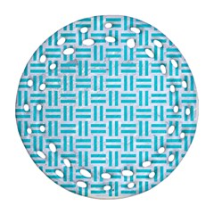 Woven1 White Marble & Turquoise Colored Pencil (r) Round Filigree Ornament (two Sides) by trendistuff