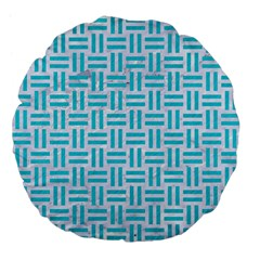 Woven1 White Marble & Turquoise Colored Pencil (r) Large 18  Premium Flano Round Cushions by trendistuff