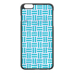 Woven1 White Marble & Turquoise Colored Pencil (r) Apple Iphone 6 Plus/6s Plus Black Enamel Case by trendistuff