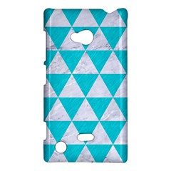 Triangle3 White Marble & Turquoise Colored Pencil Nokia Lumia 720 by trendistuff