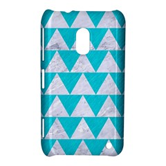 Triangle2 White Marble & Turquoise Colored Pencil Nokia Lumia 620 by trendistuff