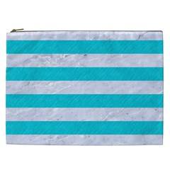 Stripes2white Marble & Turquoise Colored Pencil Cosmetic Bag (xxl)  by trendistuff