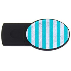 Stripes1 White Marble & Turquoise Colored Pencil Usb Flash Drive Oval (4 Gb) by trendistuff