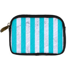 Stripes1 White Marble & Turquoise Colored Pencil Digital Camera Cases by trendistuff
