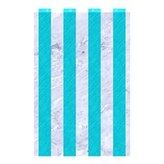 Stripes1 White Marble & Turquoise Colored Pencil Shower Curtain 48  X 72  (small)  by trendistuff