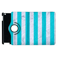 Stripes1 White Marble & Turquoise Colored Pencil Apple Ipad 2 Flip 360 Case by trendistuff