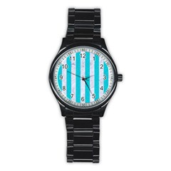 Stripes1 White Marble & Turquoise Colored Pencil Stainless Steel Round Watch by trendistuff