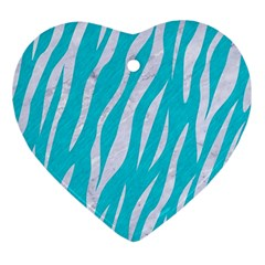 Skin3 White Marble & Turquoise Colored Pencil Ornament (heart) by trendistuff
