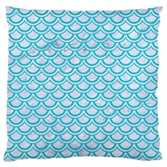Scales2 White Marble & Turquoise Colored Pencil (r) Large Cushion Case (two Sides) by trendistuff