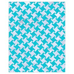 Houndstooth2 White Marble & Turquoise Colored Pencil Drawstring Bag (small) by trendistuff
