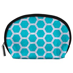 Hexagon2 White Marble & Turquoise Colored Pencil Accessory Pouches (large)  by trendistuff