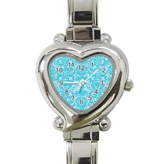 Damask2 White Marble & Turquoise Colored Pencil (r) Heart Italian Charm Watch by trendistuff
