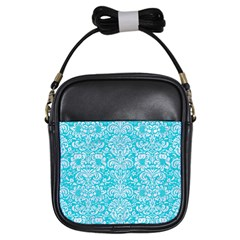 Damask2 White Marble & Turquoise Colored Pencil Girls Sling Bags by trendistuff